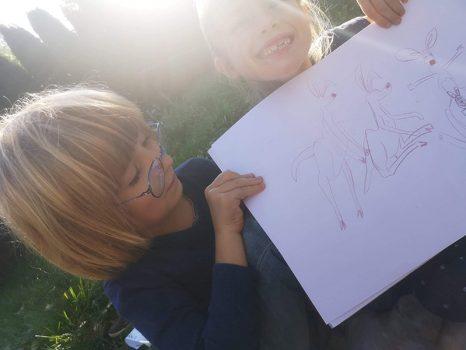 kevin-the-kangaroo-children-showing-drawings